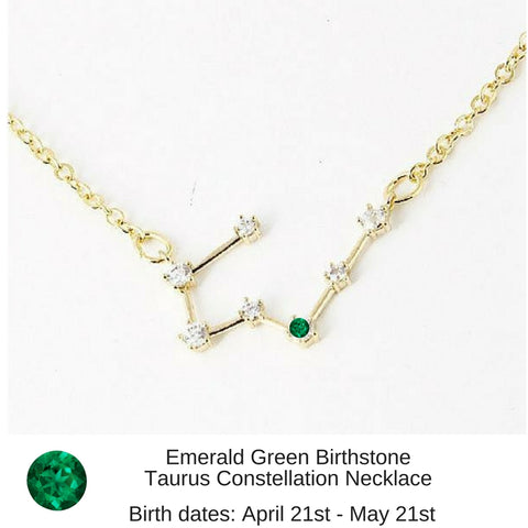 "Taurus Constellation Zodiac Necklace with Emerald Birthstone - ""Star Candy"""
