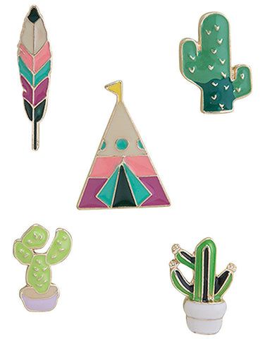 Cactus & Teepee Enamel Pin Set - My Jewel Candy - 1