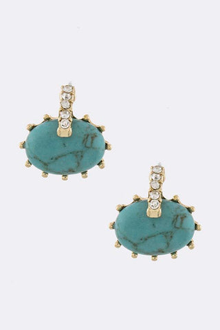 Turquoise Oval Stone Earrings - My Jewel Candy - 1