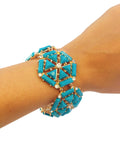 Turquoise & Crystal Hexagon Bracelet - My Jewel Candy - 3