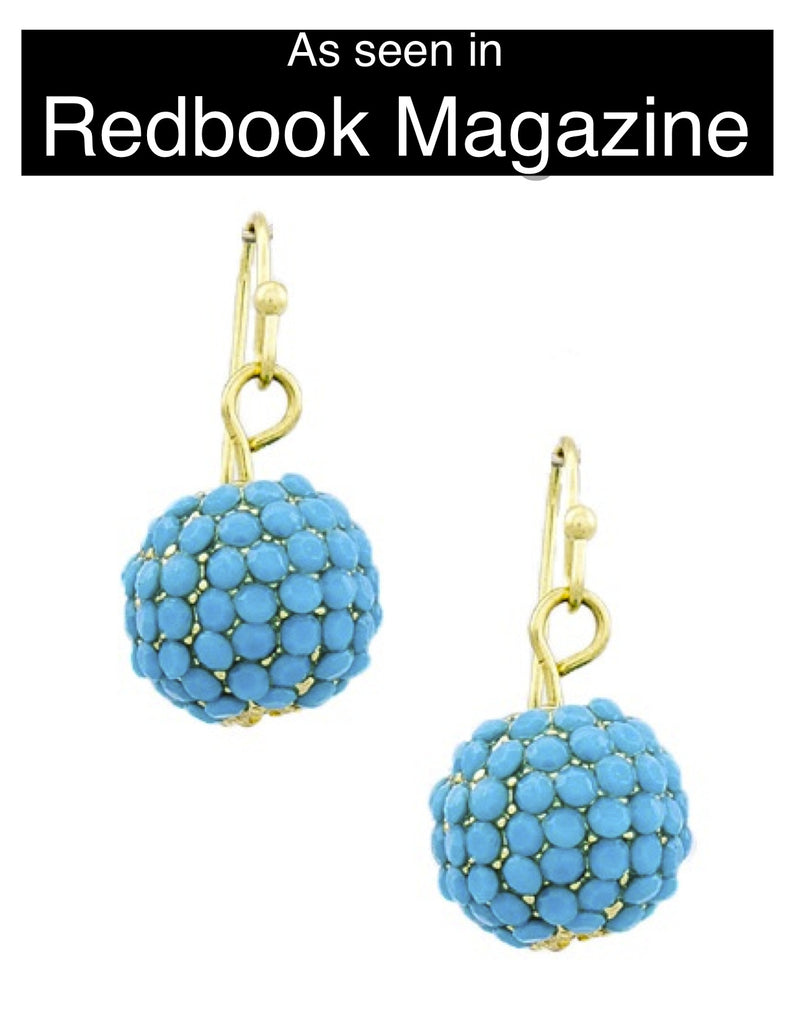 Turquoise Dangle Disco Ball Earrings - My Jewel Candy - 1