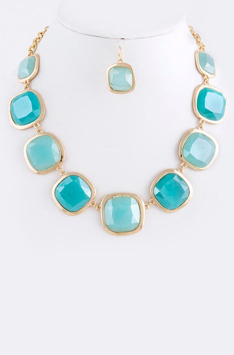 Turquoise Squares Necklace - My Jewel Candy