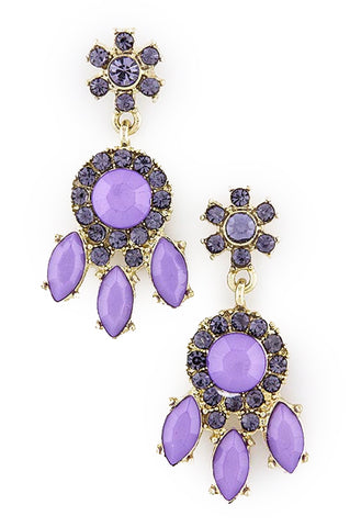 Violet Crystal Sun Dangle Earrings - My Jewel Candy