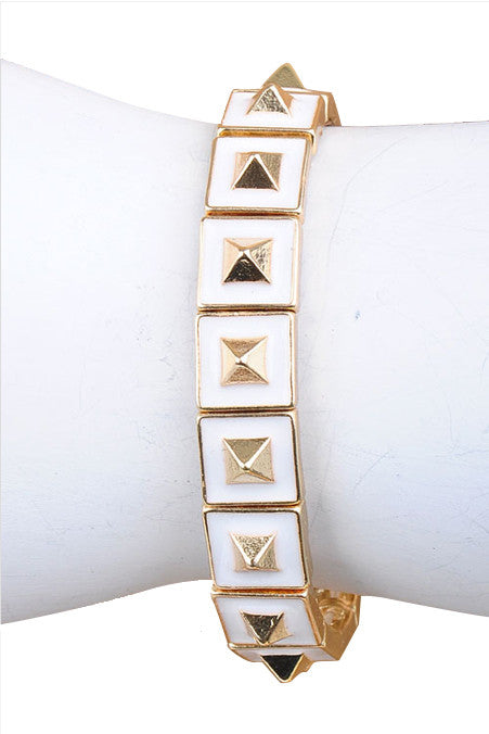Marshmallow Dipped & Gold Pyramid Stretch Bracelet - My Jewel Candy - 1