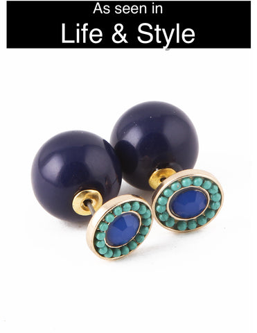Navy & Sea Green Beaded Double-Sided Earrings (As seen in Life & Style Magazine) - My Jewel Candy - 1