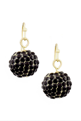 Black Dangle Disco Ball Earrings - My Jewel Candy - 1