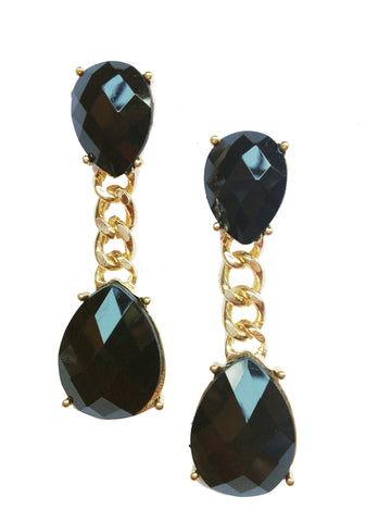 Oval Gold & Black Link Earrings - My Jewel Candy