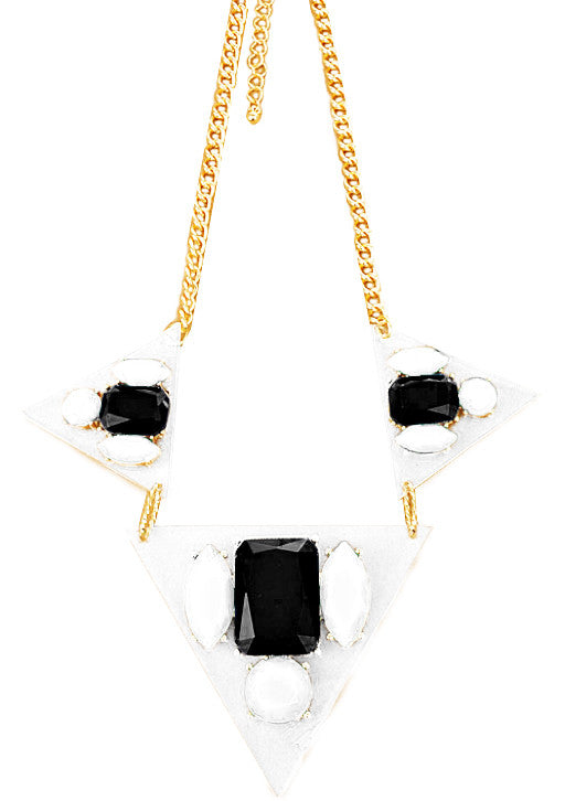 Black & White Floating Gems Necklace - My Jewel Candy