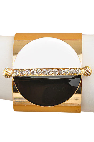Half Moon Black & White Gold Cuff Bracelet - My Jewel Candy - 1