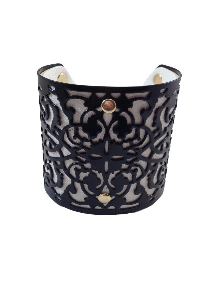 Black & White Metal & Leather Cuff Bracelet - My Jewel Candy - 1