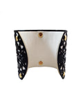 Black & White Metal & Leather Cuff Bracelet - My Jewel Candy - 2