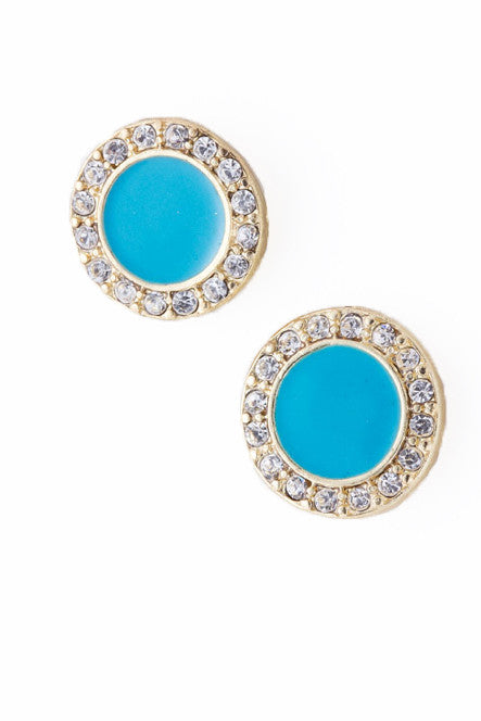 Round Turquoise Stud Earrings with Crystals - My Jewel Candy