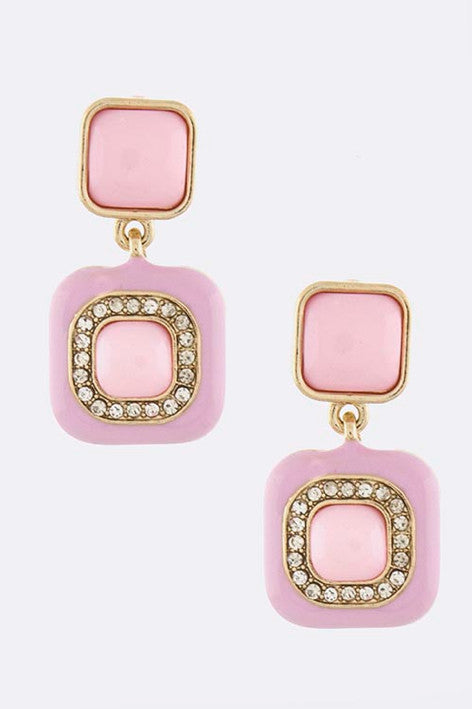 Cotton Candy Squares Earrings - My Jewel Candy - 1