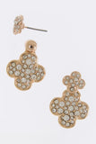 Crystal Encrusted Double Studded Clover Earrings - My Jewel Candy - 1