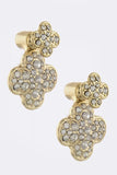 Crystal Encrusted Double Studded Clover Earrings - My Jewel Candy - 2