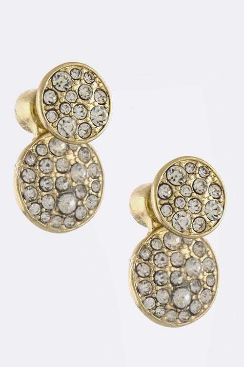 Double-Sided Stud Crystal Circle Earrings - My Jewel Candy