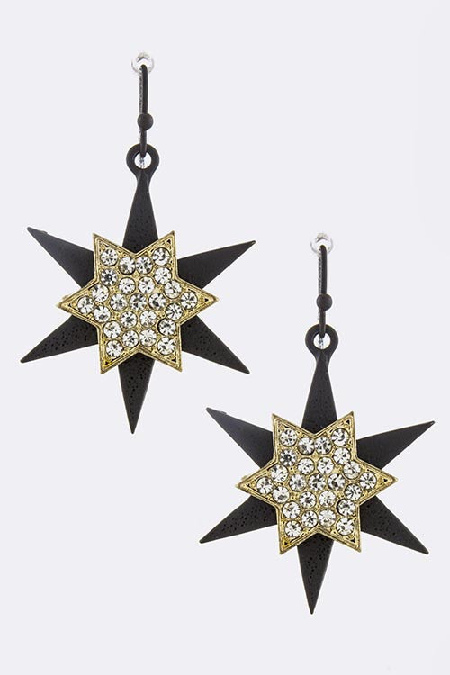 Crystal Lined Star Drop Earrings - My Jewel Candy