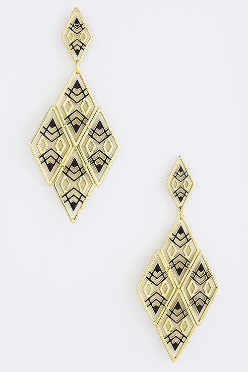 Black & Gold Kite Pattern Earrings - My Jewel Candy