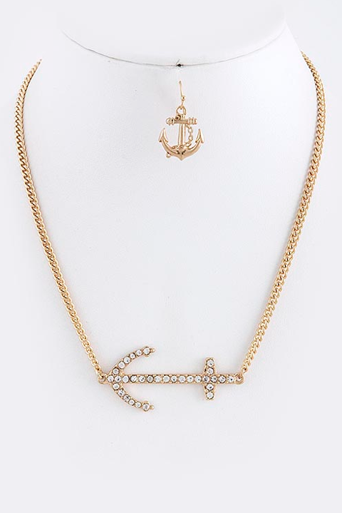 Crystal Anchor Charm Necklace Set - My Jewel Candy - 1