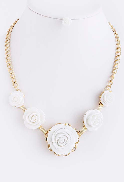 Cream Rose Necklace - My Jewel Candy