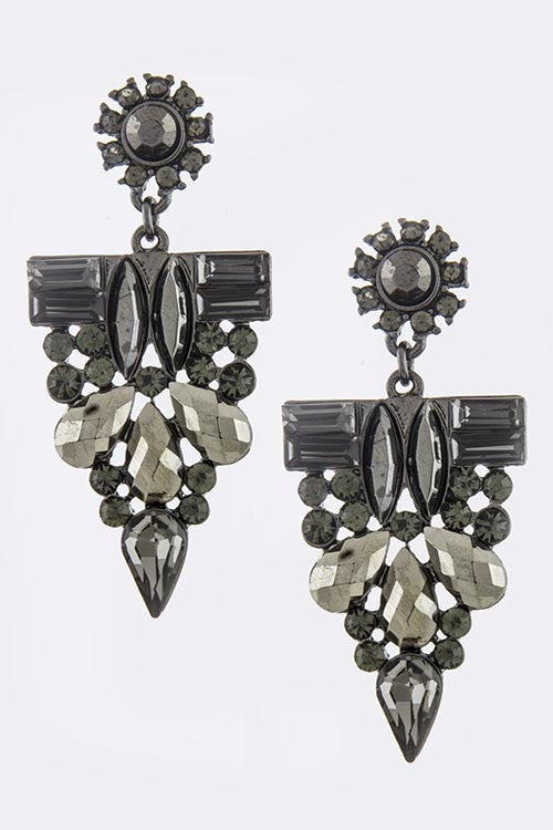 Gunmetal Crystal Drop Earrings - My Jewel Candy - 1