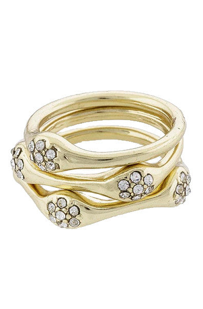 Gold Stack Rings Set with Encrusted Crystal - My Jewel Candy
