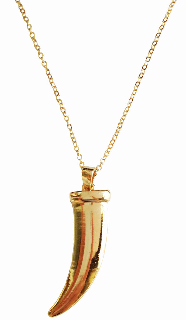 Gold Tusk Pendant Necklace - My Jewel Candy - 1