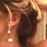 Pearl Double-Sided Dangle Earrings - My Jewel Candy - 2