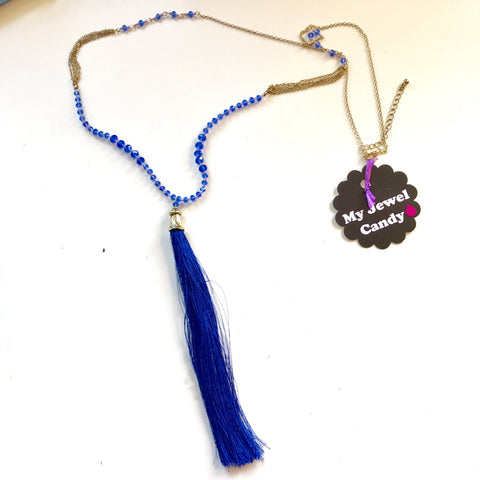 Blue Tassel & Beads Long Necklace