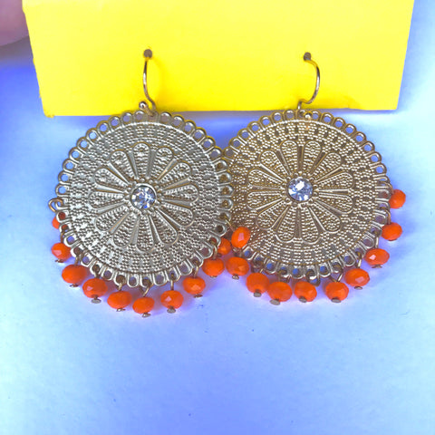 🍊Beaded Dangle Earrings (Orange)