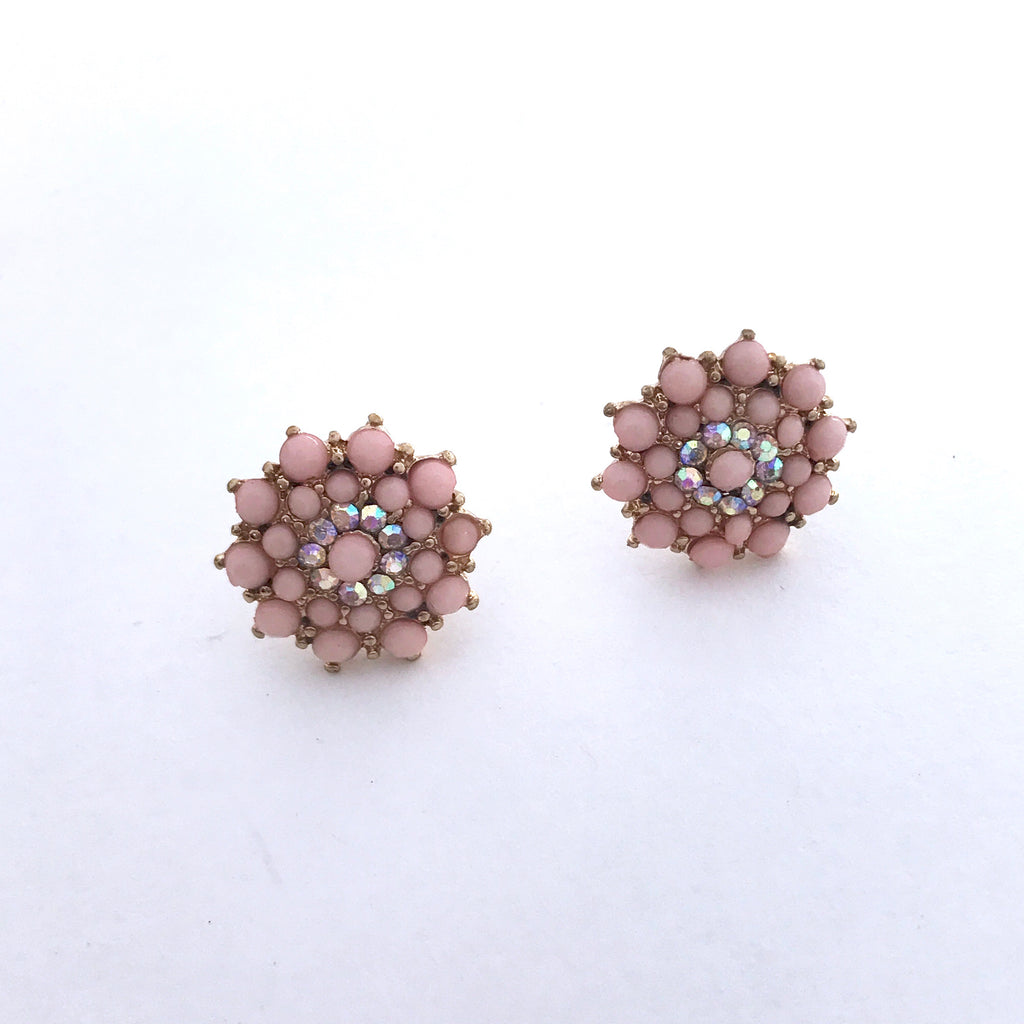 Pink Floral Crystal Stud Earrings