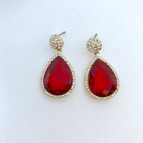 Royal Ruby Crystal Earrings🌹👑