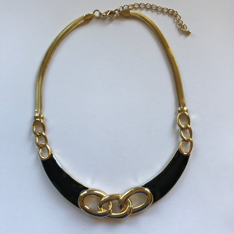 Black and Gold Collar Necklace