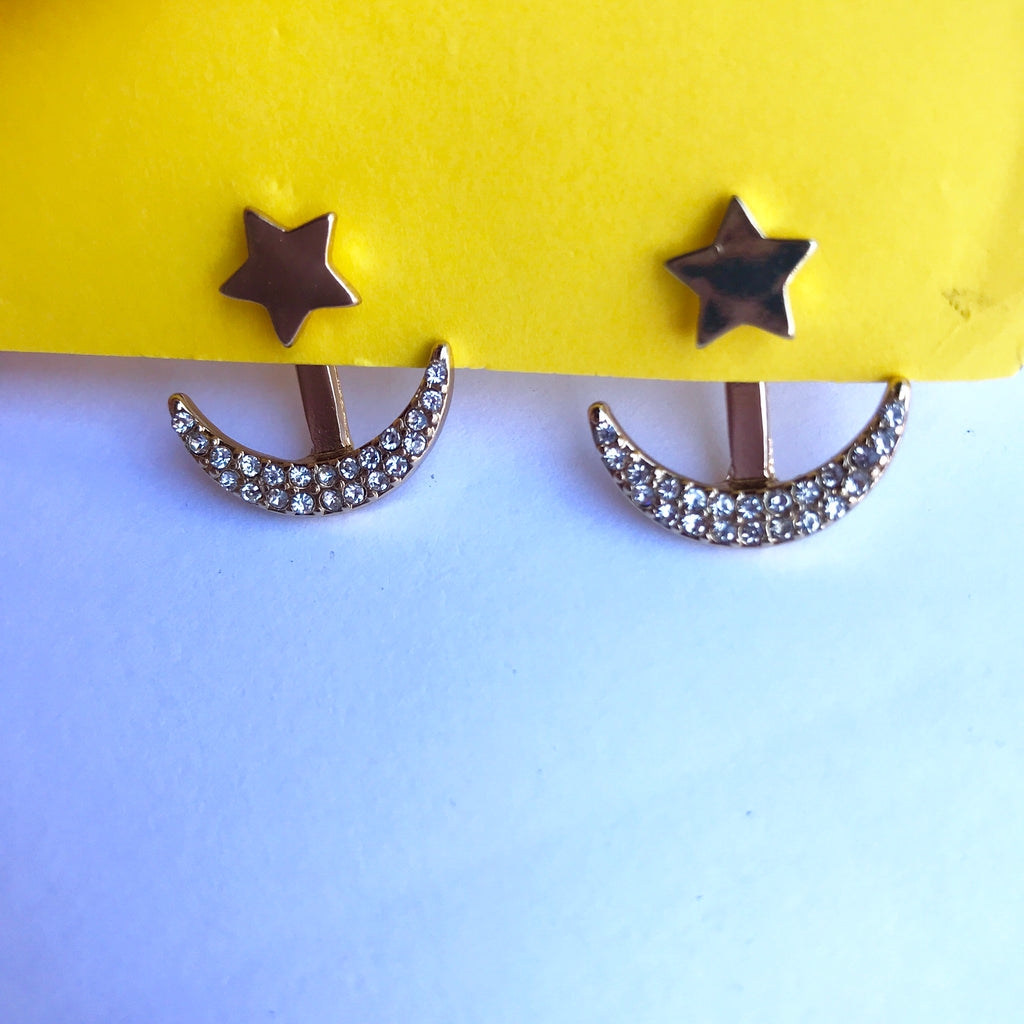 Sun & Crystal Moon Ear Jacket Earrings