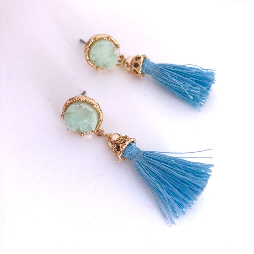 Blues Tassel & Druzy Earrings