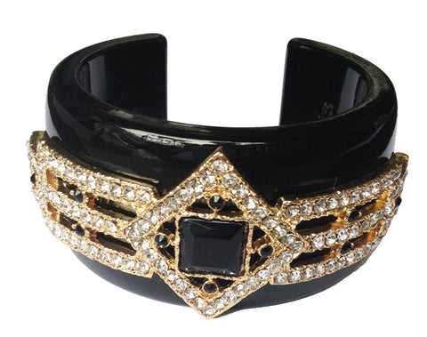 Black Bejeweled Princess Cuff Bracelet - My Jewel Candy