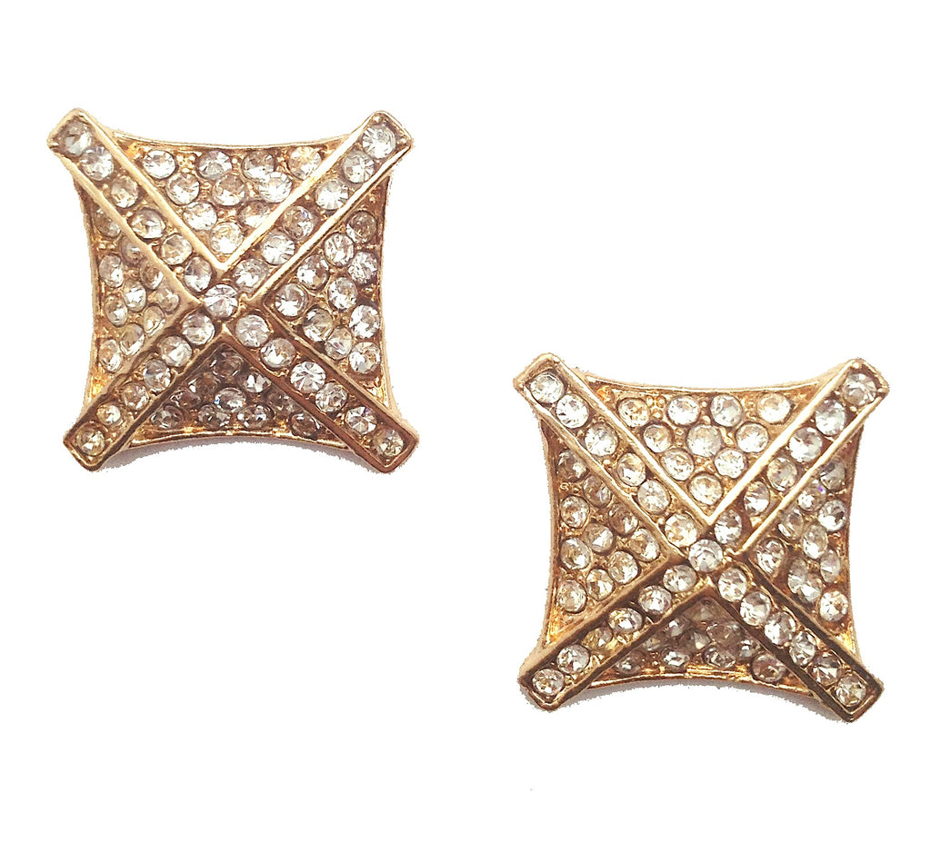 Jeweled Square and Criss-Cross Stud Earrings - My Jewel Candy