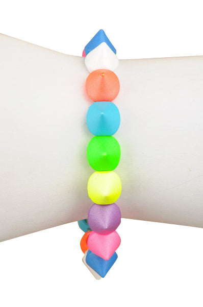Neon and Multi Colored Kisses Stretch Bracelet - My Jewel Candy