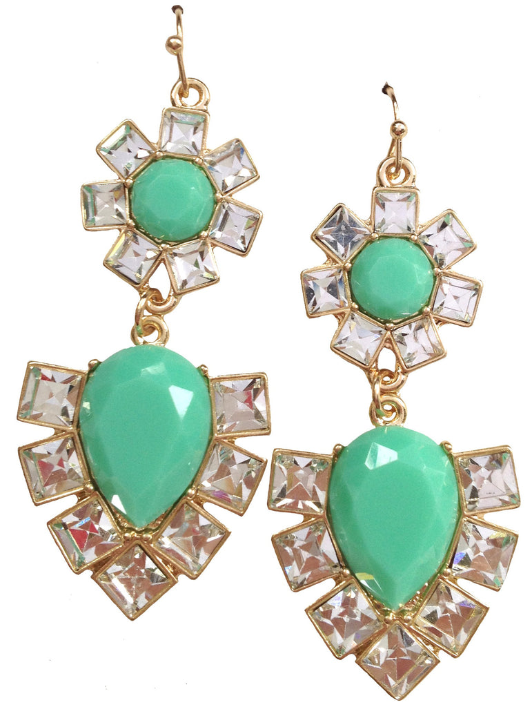 Mint Jeweled Earrings - My Jewel Candy