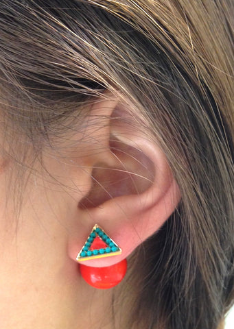 Triangle Orange & Turquoise Double-Sided Earrings - My Jewel Candy - 1