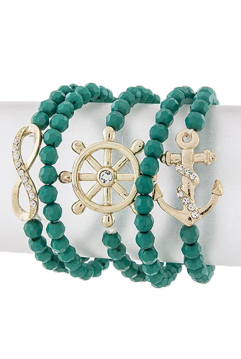 Nautical Beaded Turquoise Bracelet Stack - My Jewel Candy