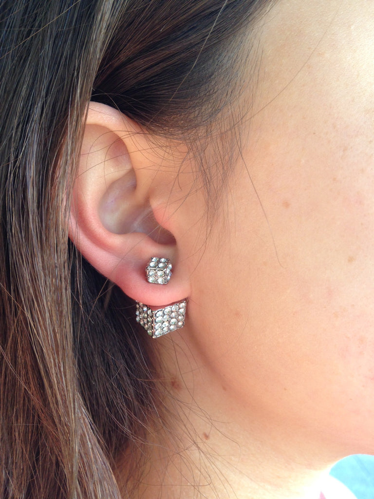Double-Sided Cube Earrings (Silver) - My Jewel Candy - 2