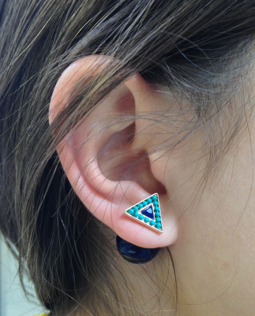 Triangle Sea Green & Navy Double-Sided Earrings - My Jewel Candy - 1
