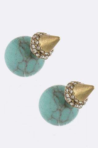 Orb & Cone Double-Sided Earrings (Turquoise) - My Jewel Candy - 1