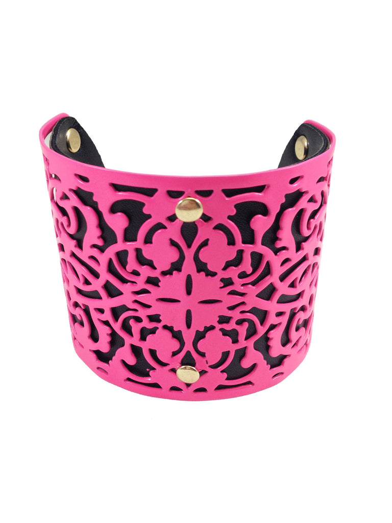Neon Pink Metal & Leather Cuff Bracelet - My Jewel Candy - 1