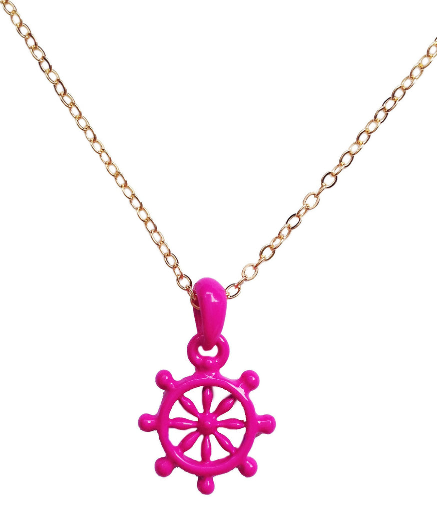 Captain-of-the-Ship Neon Pink Wheel Necklace - My Jewel Candy