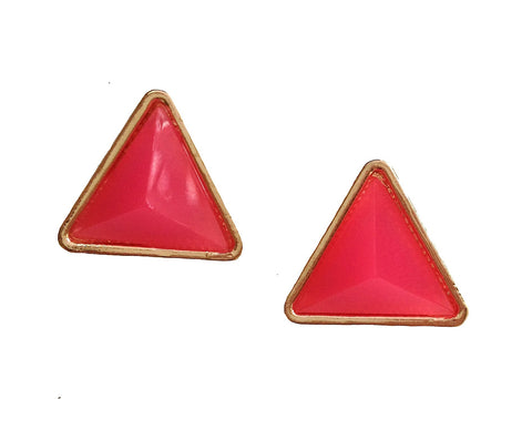 Neon Pink Triangle Stud Earrings - My Jewel Candy