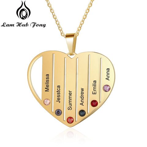 Personalized Birthstone Necklace Custom Name Heart Necklace I Love You Necklace Charm Jewelry Family Gift for Mom (Lam Hub Fong)