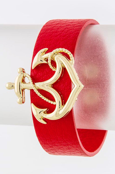 Red Anchor Wrap Bracelet - My Jewel Candy - 1