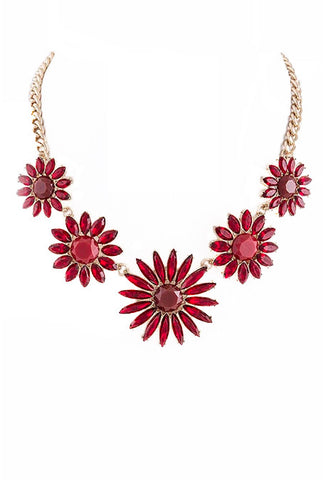 Red Flowers Necklace - My Jewel Candy